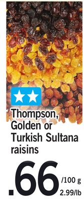 Thompson - Golden Or Turkish Sultana Raisins