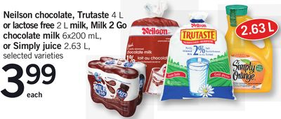 Neilson Chocolate - Trutaste 4 L or Lactose Free 2 L Milk - Milk 2 Go Chocolate Milk 6x200 mL - or Simply Juice 2.63 L