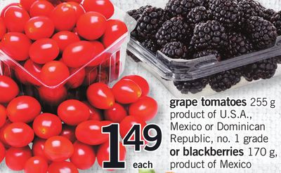 Grape Tomatoes - 255 g or Blackberries - 170 g