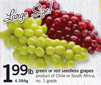 Green Or Red Seedless Grapes