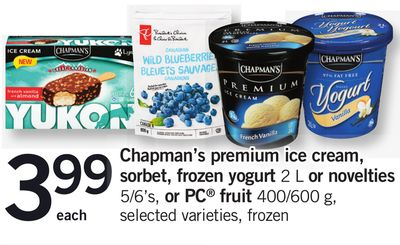 Chapman's Premium Ice Cream - Sorbet - Frozen Yogurt 2 L Or Novelties - 5/6's - or PC Fruit 400/600 g