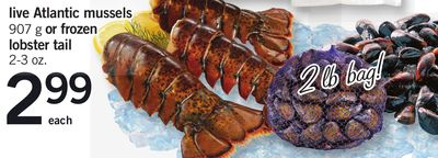 Live Atlantic Mussels 907 G Or Frozen Lobster Tail 2-3 Oz.
