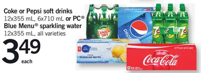 Coke Or Pepsi Soft Drinks 12x355 Ml - 6x710 Ml Or PC Blue Menu Sparkling Water 12x355 Ml