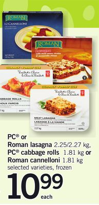 PC Or Roman Lasagna - 2.25/2.27 Kg - PC Cabbage Rolls - 1.81 Kg or Roman Cannelloni - 1.81 Kg
