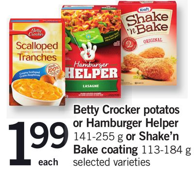 Betty Crocker Potatoes Or Hamburger Helper - 141-255 G Or Shake'n Bake Coating - 113-184 G