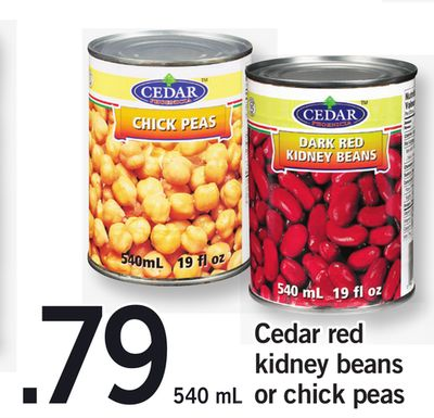 Cedar Red Kidney Beans Or Chick Peas - 540 mL