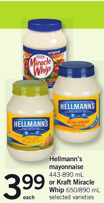 Hellmann's Mayonnaise - 443-890 mL or Kraft Miracle Whip - 650/890 mL