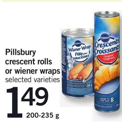 Pillsbury Crescent Rolls Or Wiener Wraps - 200-235 g