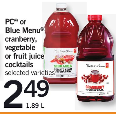 PC Or Blue Menu Cranberry - Vegetable Or Fruit Juice Cocktails - 1.89 L