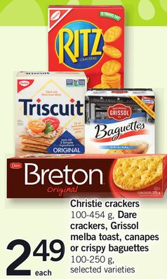 Christie Crackers 100-454 g - Dare Crackers - Grissol Melba Toast - Canapes Or Crispy Baguettes 100-250 g