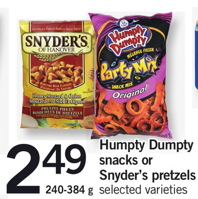 Humpty Dumpty Snacks Or Snyder's Pretzels - 240-384 g