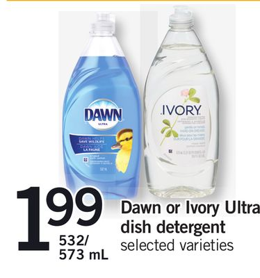 Dawn Or Ivory Ultra Dish Detergent - 532/ 573 mL