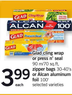 Glad Cling Wrap Or Press N' Seal - 90 M/70 Sq.ft - Zipper Bags 30-40's Or Alcan Aluminum Foil 100'