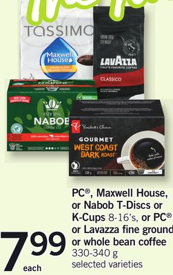 PC - Maxwell House - Or Nabob T-discs Or K-cups 8-16's - Or PC Or Lavazza Fine Ground Or Whole Bean Coffee - 330-340 g