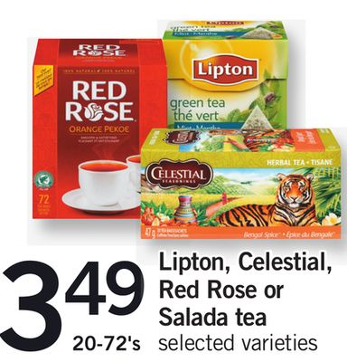 Lipton - Celestial - Red Rose Or SALADA Tea - 20-72's