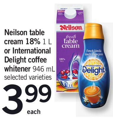 Neilson Table Cream 18% - 1 L Or International Delight Coffee Whitener - 946 mL