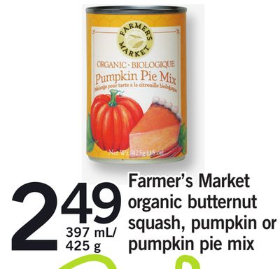 Farmer's Market Organic Butternut Squash - Pumpkin Or Pumpkin Pie Mix - 397 Ml/ 425 g