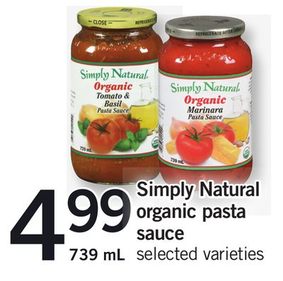 Simply Natural Organic Pasta Sauce - 739 mL