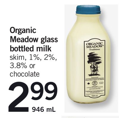 Organic Meadow Glass Bottled Milk - 946 mL