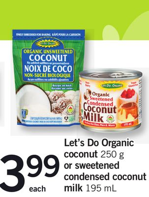 Let's Do Organic Coconut - 250 G Or Sweetened Condensed Coconut Milk - 195 Ml