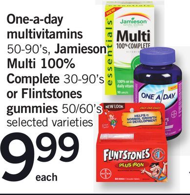 One-a-day Multivitamins - 50-90's - Jamieson Multi 100% Complete - 30-90's Or Flintstones Gummies 50/60's