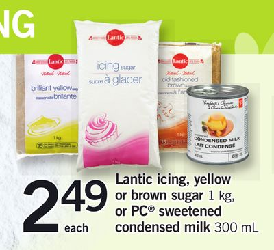 Lantic Icing - Yellow Or Brown Sugar - 1 Kg - Or PC Sweetened Condensed Milk - 300 Ml