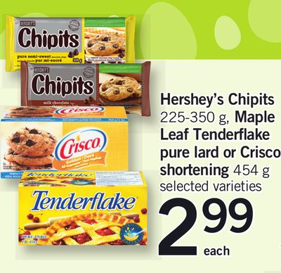 Hershey's Chipits - 225-350 g - Maple Leaf Tenderflake Pure Lard Or Crisco Shortening - 454 g