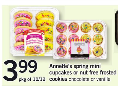 Annette's Spring Mini Cupcakes Or Nut Free Frosted Cookies - Pkg of 10/12