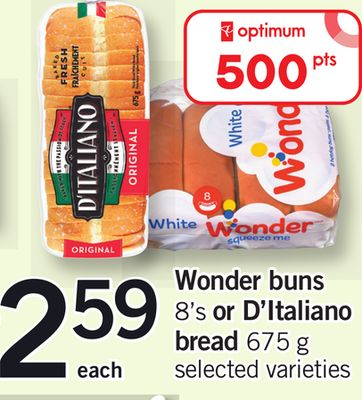 Wonder Buns - 8's Or D'italiano Bread - 675 G