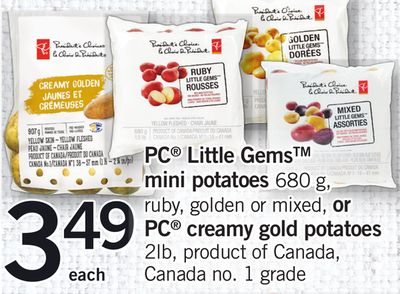 PC Little Gems Mini Potatoes - 680 G - Ruby - Golden Or Mixed - Or PC Creamy Gold Potatoes - 2lb