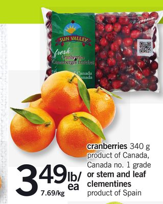 Cranberries - 340 G Or Stem And Leaf Clementines
