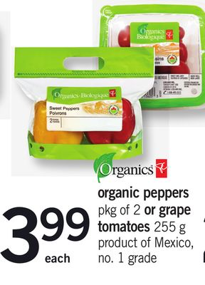 Organic Peppers Pkg Of 2 Or Grape Tomatoes 255 G