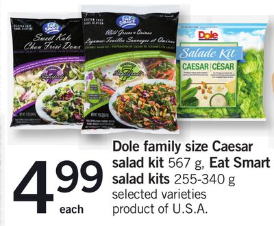 Dole Family Size Caesar Salad Kit - 567 G - Eat Smart Salad Kits - 255-340 G