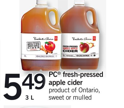 PC Fresh-pressed Apple Cider - 3 L