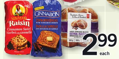 PC Hot Cross Buns - Pkg Of 8 - Extra Thick Sliced Cinnamon Raisin Bread - 675 G - Thomas' English Muffins - 6's Or Cinnamon Raisin Toaster Loaf - 675 G - Cinnabon Cinnamon Bread - 450 G Or Sunmaid Raisin Bread - 450 G