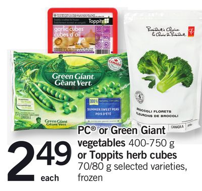 PC Or Green Giant Vegetables - 400-750 g Or Toppits Herb Cubes - 70/80 g