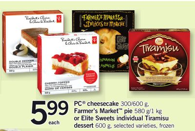 PC Cheesecake 300/600 g - Farmer's Market Pie 580 G/1 Kg Or Elite Sweets Individual Tiramisu Dessert 600 g
