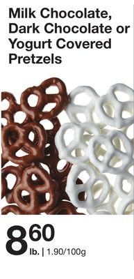 Milk Chocolate - Dark Chocolate or Yogurt Covered Pretzels