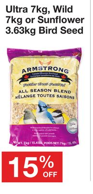 Armstrong Ultra 7kg - Wild 7kg or Sunflower 3.63kg Bird Seed