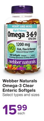 Webber Naturals Omega-3 Clear Enteric Softgels