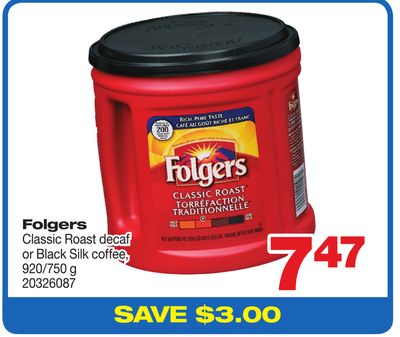 Folgers Classic Roast Decaf Or Black Silk Coffee - 920/750 g