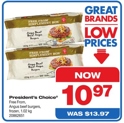 President's Choice Free From - Angus Beef Burgers - 1.02 Kg