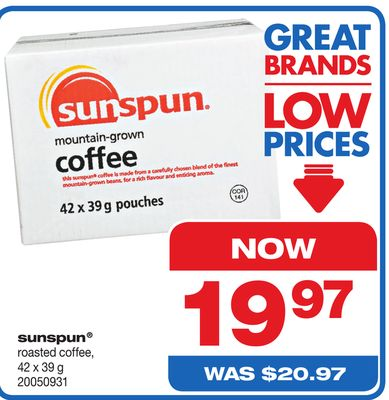 Sunspun Roasted Coffee - 42 X 39 g