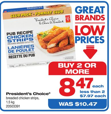 President's Choice Breaded Chicken Strips - 1.5 Kg
