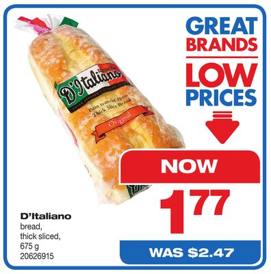 D'italiano Bread - Thick Sliced - 675 g