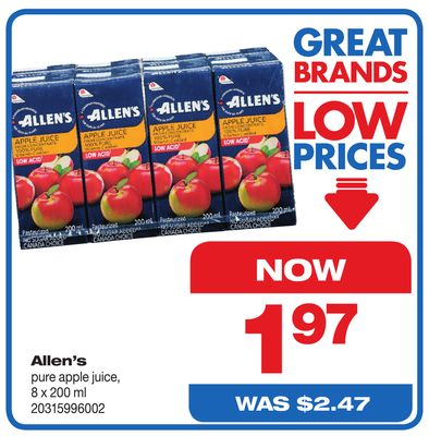 Allen's Pure Apple Juice - 8 X 200 ml