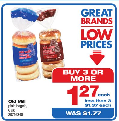 Old Mill Plain Bagels - 6 Pk