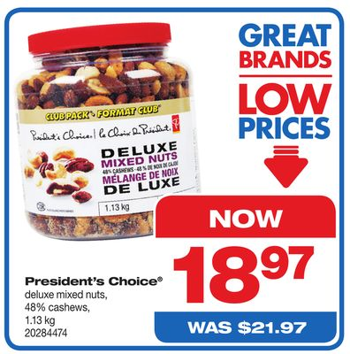 President's Choice Deluxe Mixed Nuts - 48% Cashews