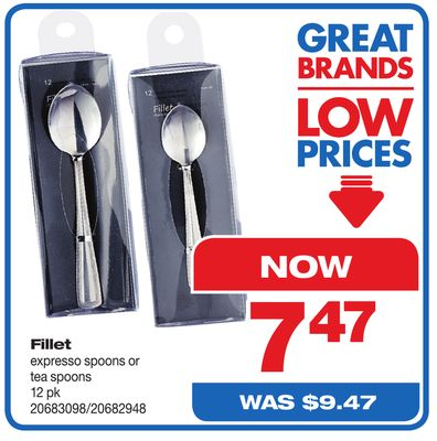 Fillet Expresso Spoons Or Tea Spoons - 12 Pk