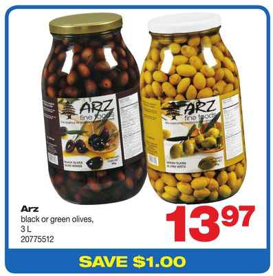 Arz Black Or Green Olives - 3 L